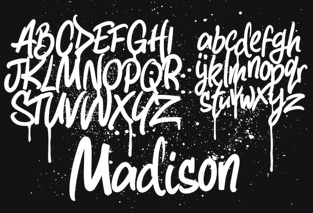 Marker graffiti font, odręczna ilustracja typografii