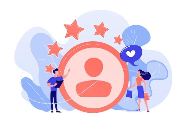 Marketer mierzący satysfakcję klientów i gwiazdki ratingowe. analiza satysfakcji i lojalności, wzrost utrzymania klienta, ilustracja koncepcji narzędzi marketingowych