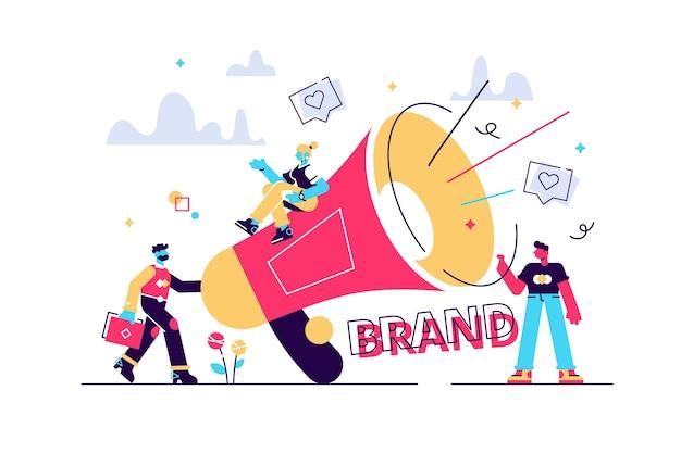 Marketerzy z megafonem prowadzący kampanię świadomości marki.