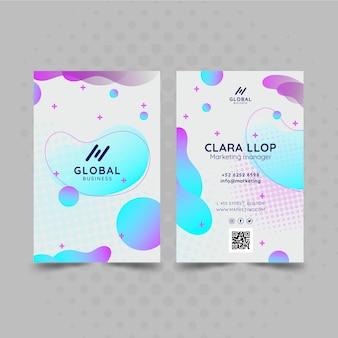 Marketing biznesowa dwustronna wizytówka pionowa