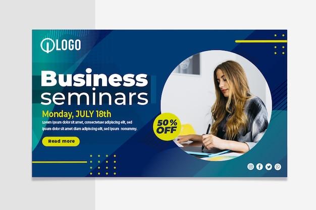 Marketing biznesowy poziomy baner szablon