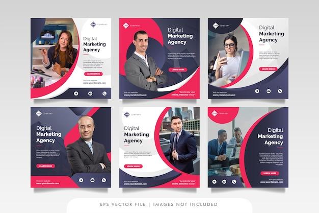 Marketing biznesowy w mediach społecznościowych post i baner internetowy