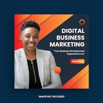 Marketing biznesowy w mediach społecznościowych szablon postu i banera