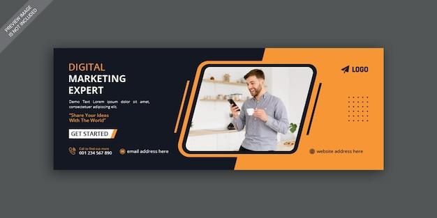 Marketing cyfrowy biznesowa okładka na facebooku i szablon projektu banera internetowego