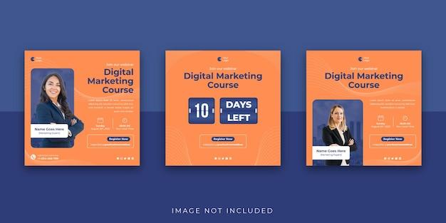 Marketing cyfrowy biznesowe seminarium internetowe media społecznościowe szablon postu na instagram