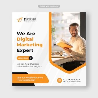 Marketing cyfrowy biznesowy post w mediach społecznościowych i baner internetowy premium