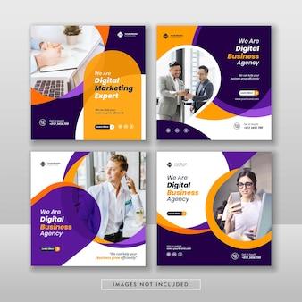 Marketing cyfrowy biznesowy post w mediach społecznościowych i baner internetowy