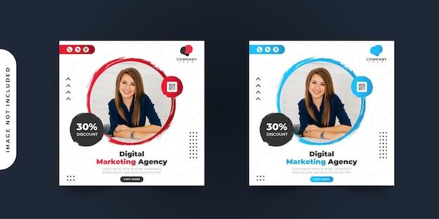 Marketing cyfrowy biznesowy post w mediach społecznościowych z kolekcją ramek koła