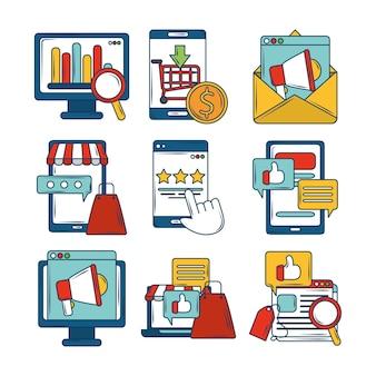 Marketing cyfrowy e-mail megafon badania ikony aplikacji biznesowych finansów