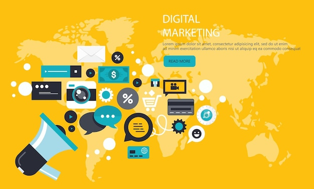 Marketing cyfrowy i baner promocyjny