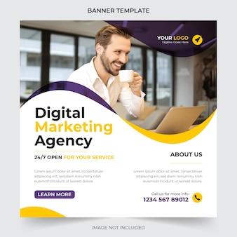 Marketing cyfrowy i korporacyjne posty w mediach społecznościowych i szablon projektu banerów internetowych premium wektorów