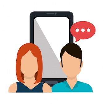 Marketing cyfrowy i sprzedaż internetowa, postać żeńska i męska z bąbelkowym czatem i telefonem komórkowym