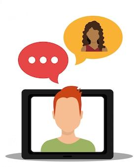 Marketing cyfrowy i sprzedaż online, męska postać z bąbelkowym czatem na wyświetlaczu komputera