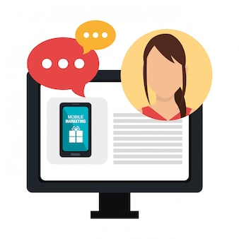 Marketing cyfrowy i sprzedaż online, postać kobieca z ikonami czatu z bąbelkami
