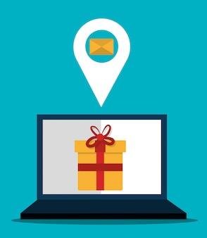 Marketing cyfrowy i sprzedaż online, prezent na wyświetlaczu komputera