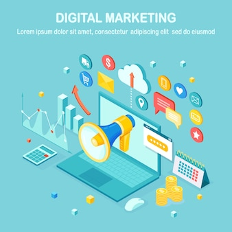 Marketing cyfrowy. izometryczny komputer 3d. reklama strategii rozwoju biznesu. analiza mediów społecznościowych