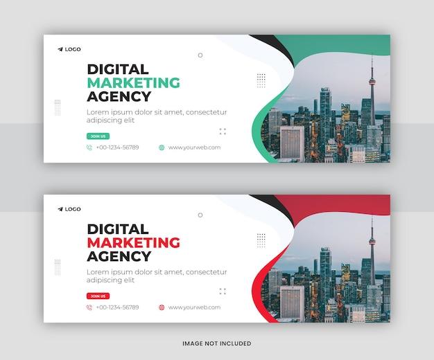 Marketing cyfrowy korporacyjne media społecznościowe facebook projekt szablonu okładki osi czasu