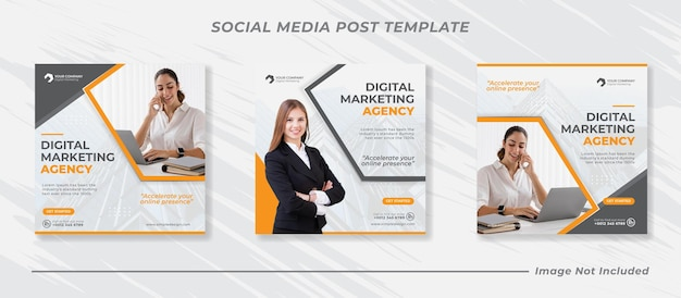 Marketing cyfrowy korporacyjne media społecznościowe i szablon postu na instagramie