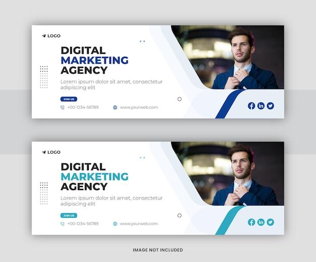 Marketing cyfrowy korporacyjne media społecznościowe projekt szablonu okładki na facebooku