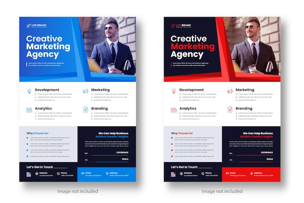 Marketing cyfrowy korporacyjny nowoczesny szablon projektu ulotki biznesowej w kolorze czerwonym i niebieskim