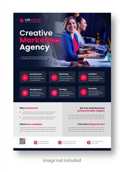Marketing cyfrowy korporacyjny nowoczesny szablon ulotki biznesowej z czerwonym kolorem