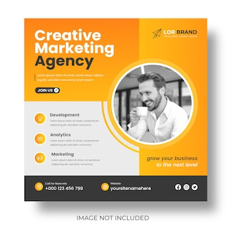 Marketing cyfrowy korporacyjny post w mediach społecznościowych i baner internetowy lub projekt postu promocyjnego