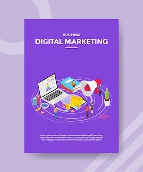 Marketing cyfrowy ludzie promują biznes na laptopie internetowym dla szablonu ulotki