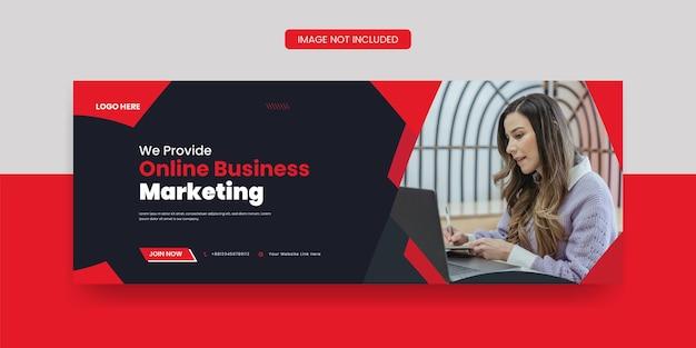 Marketing cyfrowy okładka na facebooku i szablon mediów społecznościowych z banerem internetowym