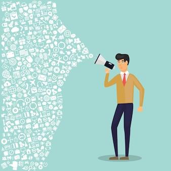 Marketing cyfrowy płaski ilustracja