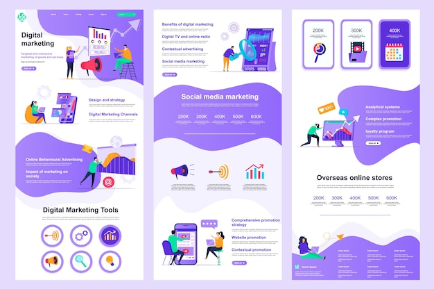 Marketing cyfrowy płaski szablon strony docelowej strony docelowej i stopka