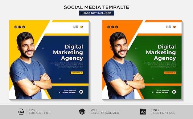 Marketing cyfrowy post w mediach społecznościowych lub szablon projektu banera