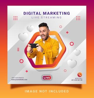 Marketing cyfrowy transmisja na żywo post na instagram szablon banera w mediach społecznościowych