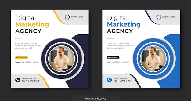 Marketing cyfrowy w mediach społecznościowych i szablon postu na instagramie