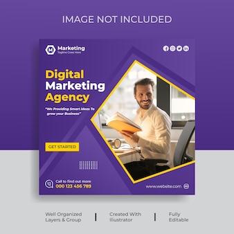 Marketing cyfrowy w mediach społecznościowych lub post na instagramie design vector premium