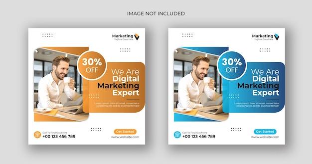 Marketing cyfrowy w mediach społecznościowych po kwadratowym szablonie banera
