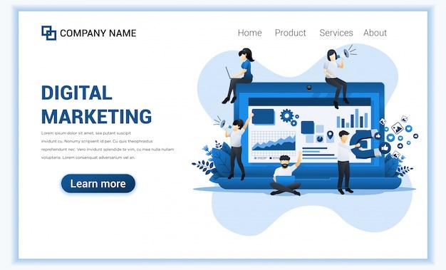 Marketing cyfrowy z postaciami. można używać do banera internetowego, strategii treści, infografiki, strony docelowej, szablonu strony internetowej. płaska ilustracja