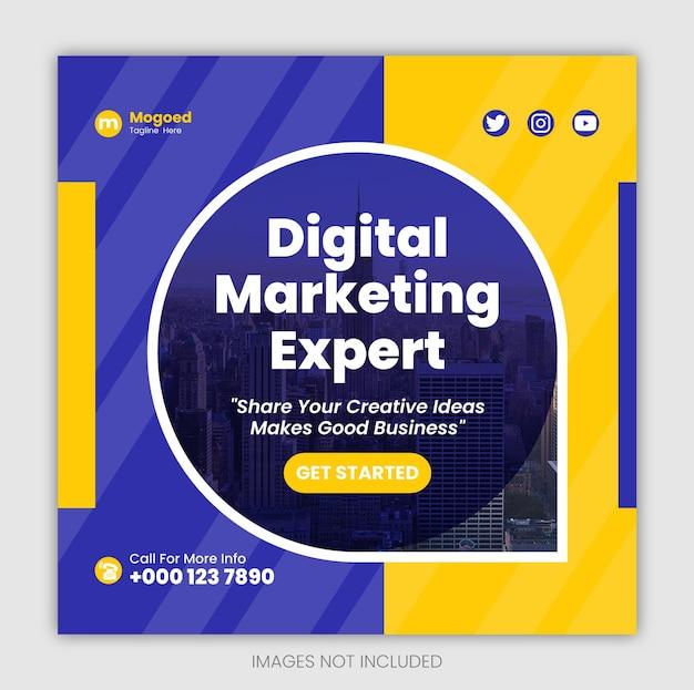 Marketing cyfrowybiznesowy szablon postu w mediach społecznościowych