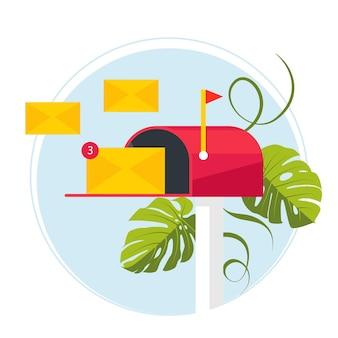 Marketing e-mailowy. skrzynka pocztowa i koperty otoczone powiadomieniami ikonami. koncepcja e-mail reprezentowana przez ikonę koperty i skrzynki pocztowej. bombardowanie e-mailem. ilustracja wektorowa