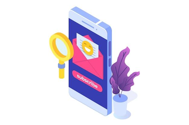 Marketing e-mailowy, subskrybuj koncepcję izometryczną