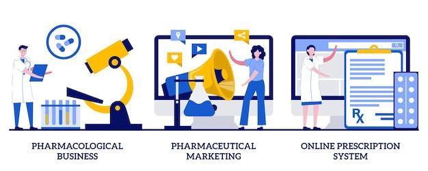 Marketing farmaceutyczny, koncepcja systemu recept online z ilustracjami małych ludzi