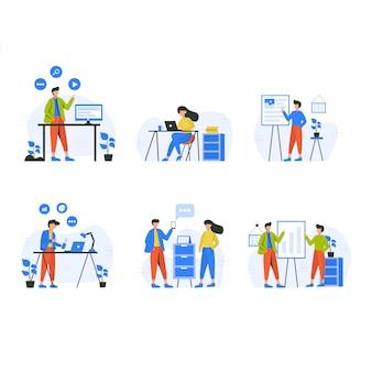 Marketing internetowy promuje i analizuje reklamy w zestawach scen z mediów społecznościowych