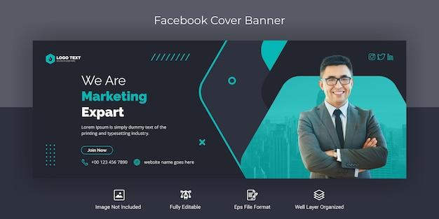Marketing korporacyjny w mediach społecznościowych na okładce na facebooku szablon banera