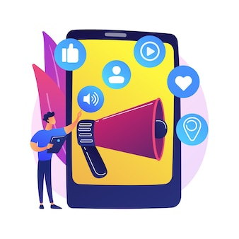 Marketing mediów społecznościowych. narzędzie e-commerce, zarządzanie smm, reklama online. biznesmen za pomocą sieci społecznościowych do promocji produktu
