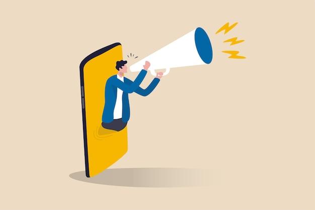 Marketing mobilny, strategia cyfrowa z wykorzystaniem influencera lub reklama z aplikacją społecznościową kierowaną na smartfon użytkownika, wesoły mężczyzna opowiadający promocję na megafonie pojawiająca się na smartfonie