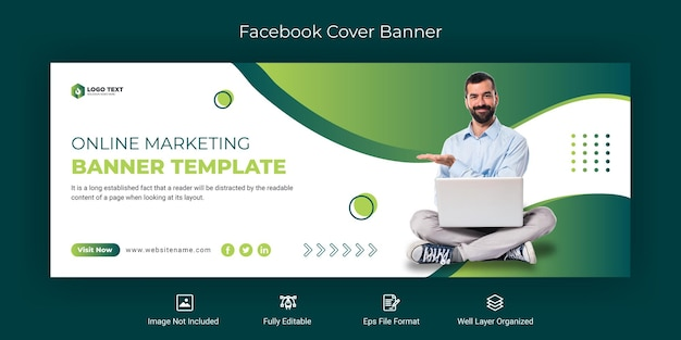 Marketing online szablon banera na okładkę na facebooku
