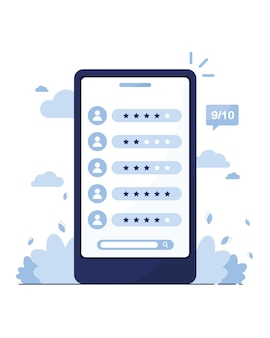 Marketing online. telefon ze stroną z recenzjami klientów, sprzedawców, pracowników. wyszukaj pracownika. oferta pracy. szablon oceny. profile członków. niebieski
