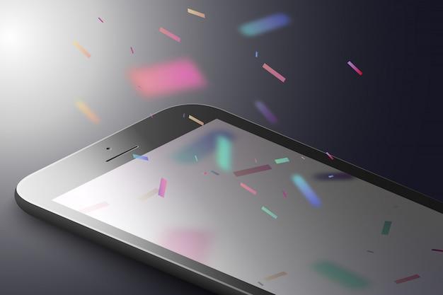 Marketing rzeczywistości rozszerzonej. czarny telefon inteligentny z kolorowymi jasnymi konfetti spadającymi. aplikacja ar. 3d