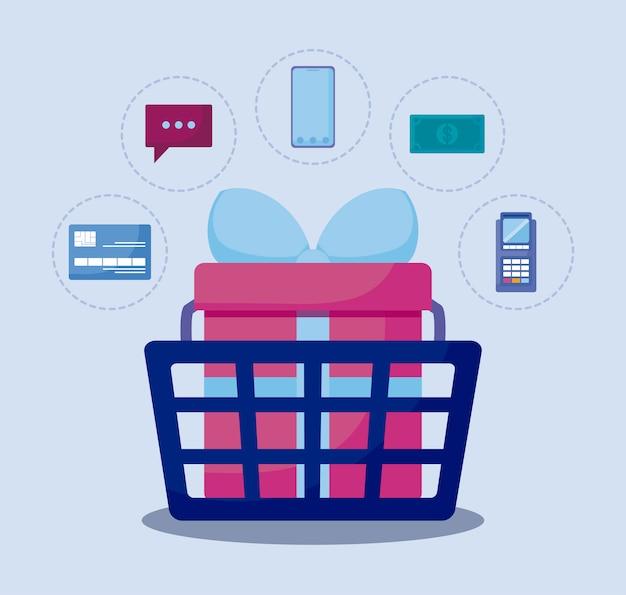 Marketing społecznościowy z koszykiem zakupów