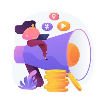Marketing treści. copywriting, blogowanie, kreatywne pisanie. postać z kreskówki kobiece siedzi na megafon. smm, płaski element promocji internetowej.
