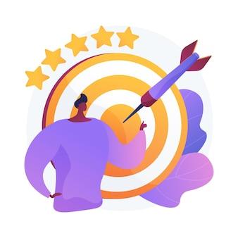 Marketing ukierunkowany. biznes precyzja na białym tle płaska konstrukcja elementu. ambicje, cele, możliwości biznesmenów. wydajność wydajności.
